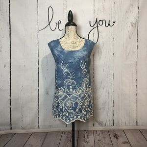 Blue & Ivory Embroidered Top Made in USA